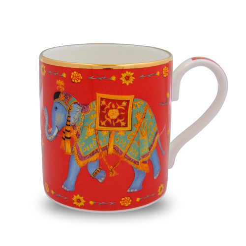 Halcyon Days Ceremonial Elephant Red Mug BCCIE06MGG