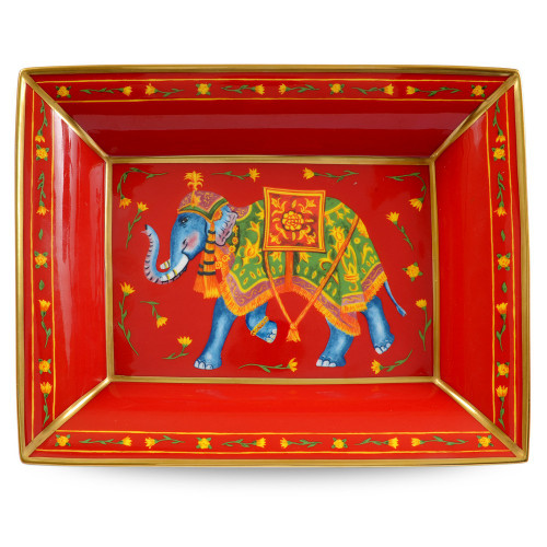Halcyon Days Ceremonial Elephant Red Trinket Tray BCCIE06TTG