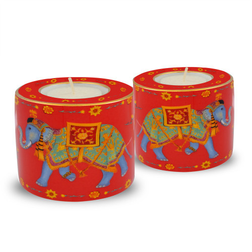 Halcyon Days Ceremonial Elephant Red Tealight Set Of 2 BCCIE06TLG