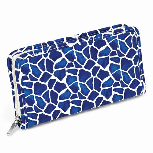 Blue Giraffe Print Zip Around Jewelry Wallet GM8422