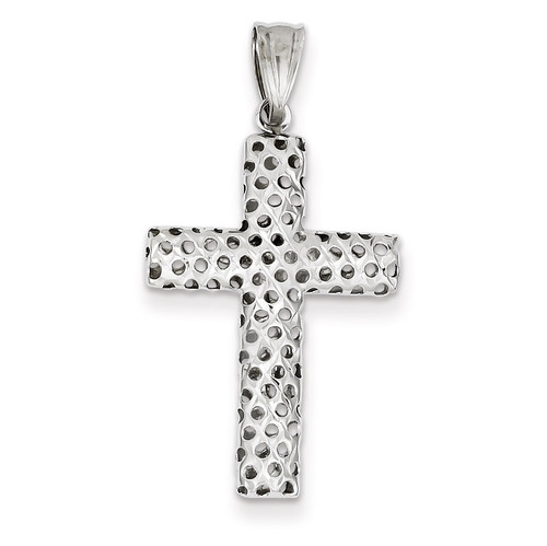 14k White Gold Diamond Cut Cross Pendant K4991