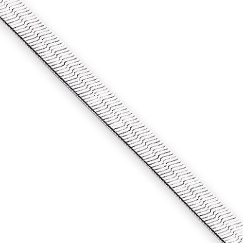 18 inch Rhodium-plated 4.5mm Silky Herringbone Necklace KW490-18