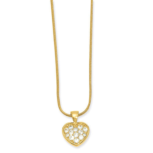 18 inch Gold-plated Diamond Pave Heart Necklace KW620-18