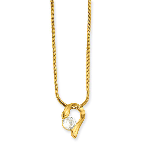 18 inch Gold-plated Diamond Necklace KW638-18