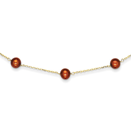 14k Gold Brown Fresh Water Cultured Pearl Necklace PR58-16