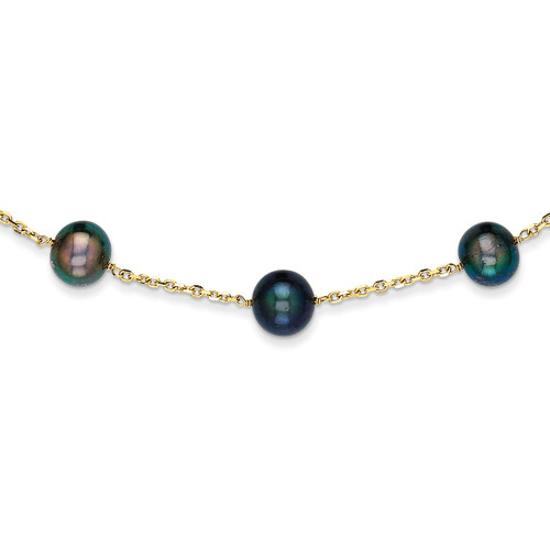 14k Gold Black Fresh Water Cultured Pearl Necklace PR66-18