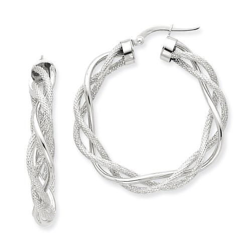 14k White Gold Polished & Satin Twisted Hoop Earrings PRE764W