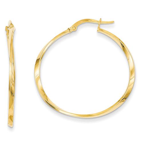 14k Gold Circle Hinged Hoop Earrings PRE838