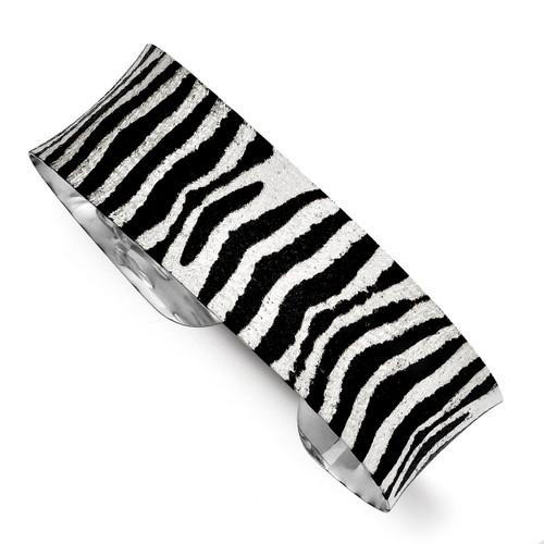 Sterling Silver Overlay Design Zebra Black & Silver Concave Cuff Bracelet QB711