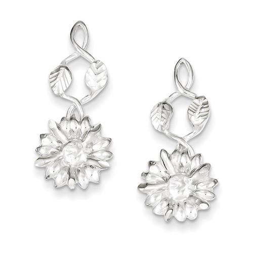 Sterling Silver Flower Dangle Post Earrings QE4149