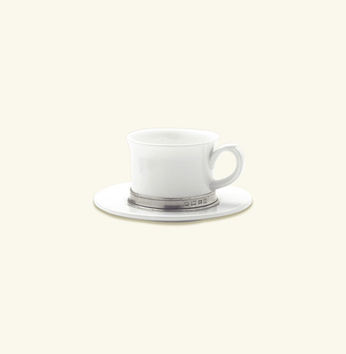 Match Pewter Convivio Cappucino Tea Cup With Saucer - White