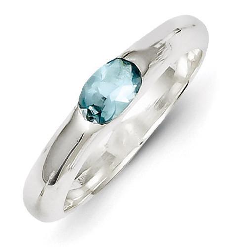 Sterling Silver Light Blue Oval Diamond Half Bezel Ring QR4403-6