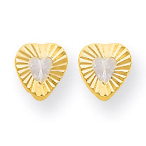 14k Gold Madi K Diamond Heart Post Earrings SE2226