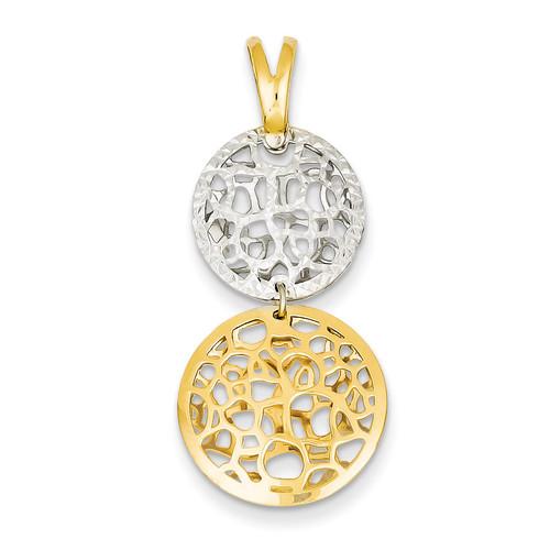 14K Two-tone Gold Polished & Diamond Cut Circle Pendant SF2031