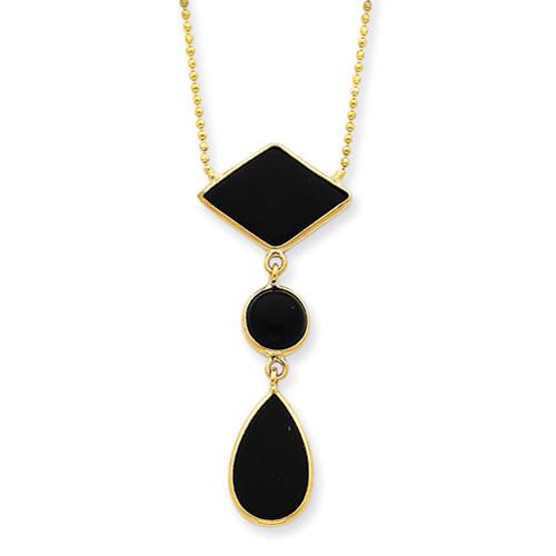14k Gold 16 inch Fancy Onyx Necklace SF817-16