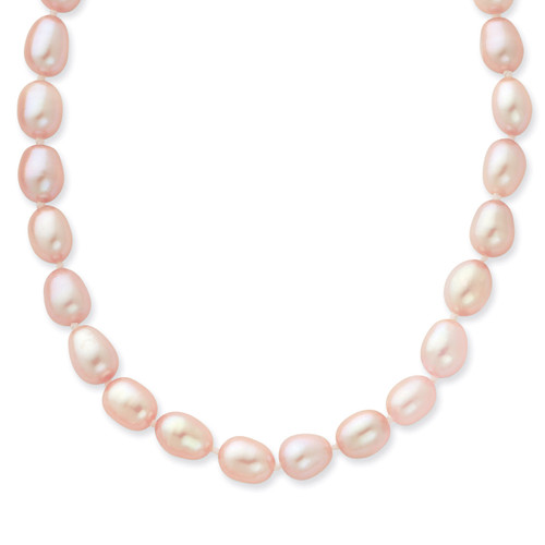 14k Gold 7-8mm Pink Rice Shape Fresh Water Cultured Pearl Necklace XF383-20