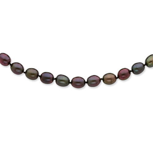 14k White Gold 7-8mm Black Fresh Water Cultured Pearl Necklace XF420-16