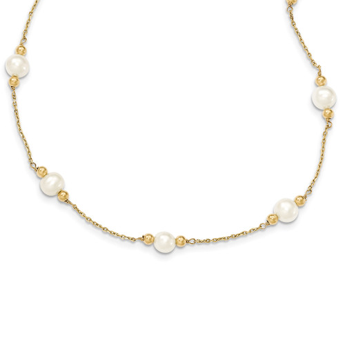 14K Gold and Fresh Water Cultured Pearl/Bead Necklace XF445-20