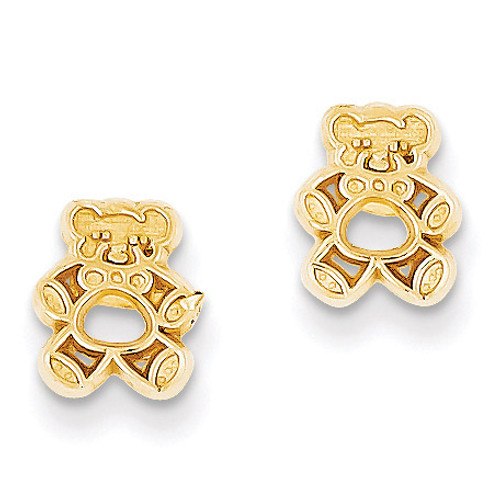 14k Gold Polished Teddy Bear Post Earrings YE13
