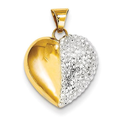 14k Gold Swarovski Elements White Heart Pendant YE1549