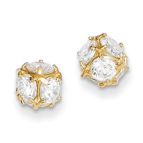 14k Gold Diamond 6mm Post Earrings YE1601