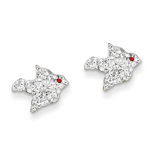 14k Gold Crystal White Bird Post Earrings YE1606