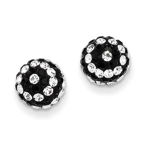 14k Gold Crystal Black and White Stripe 8mm Post Earrings YE1628