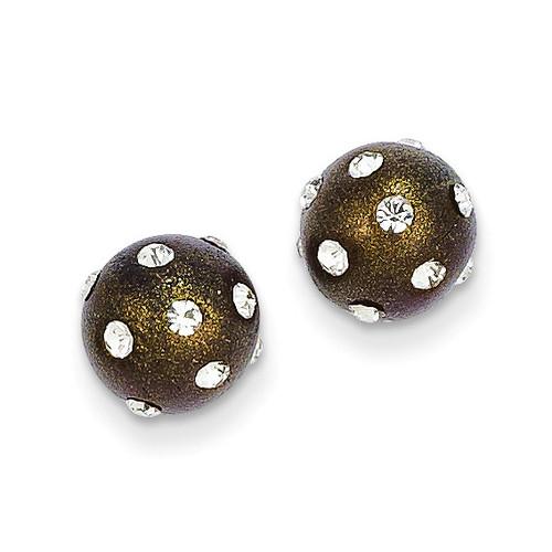 14k Gold Crystal Brown 8mm Post Earrings YE1630