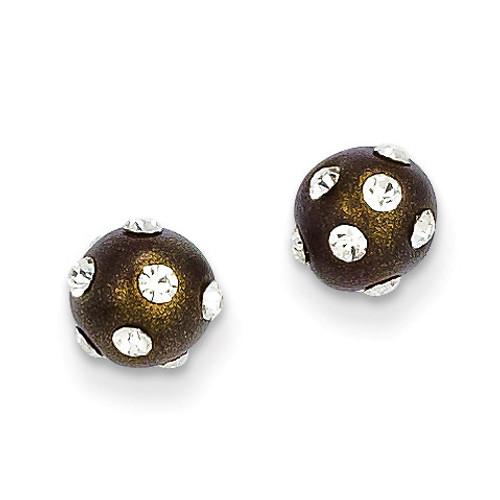 14k Gold Crystal Brown 6mm Post Earrings YE1631