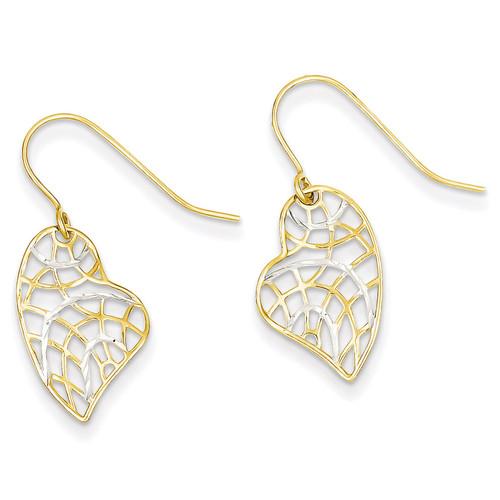 14k Gold & Rhodium Diamond Cut Heart Dangle Earrings YE1667