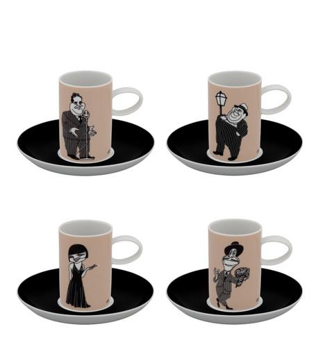 Vista Alegre A Viagem Set of 4 Coffee Cups & Saucer Actors