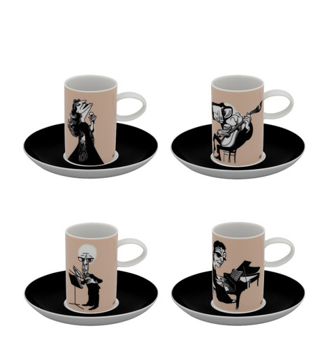Vista Alegre A Viagem Set of 4 Coffee Cups & Saucer Musician