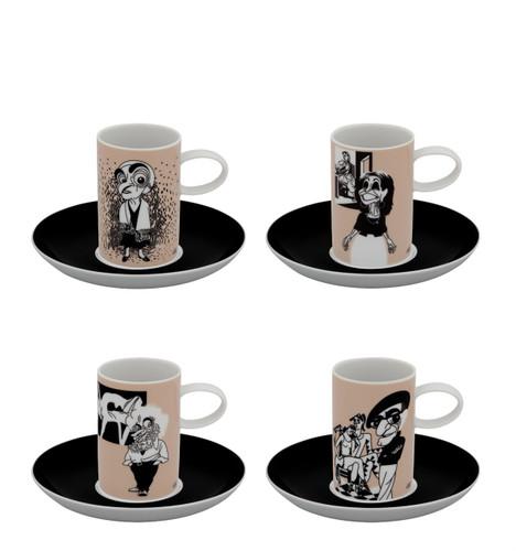 Vista Alegre A Viagem Set of 4 Coffee Cups & Saucer Painters