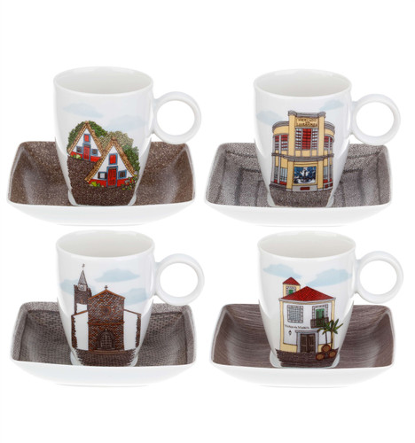 Vista Alegre Alma Da Madeira Set of 4 Cups & Saucers with Gift Box