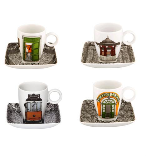 Vista Alegre Alma De Lisboa Set of 4 Cups & Saucers with Gift Box