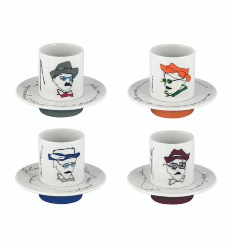 Vista Alegre Heteronimos Set of 4 Coffee Cups & Saucers