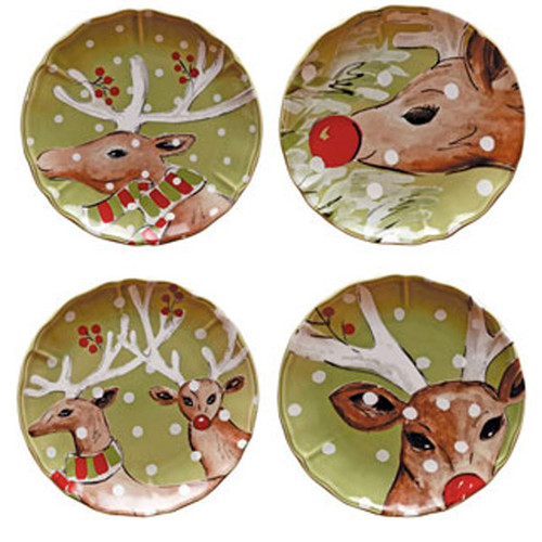 Casafina Deer Friends Salad Dessert Plate Set of 4