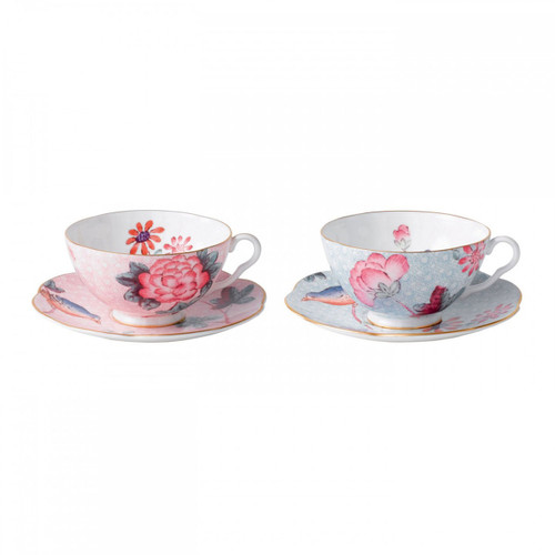 Wedgwood Cuckoo Teacup and Saucer Set of Two Pink and Blue