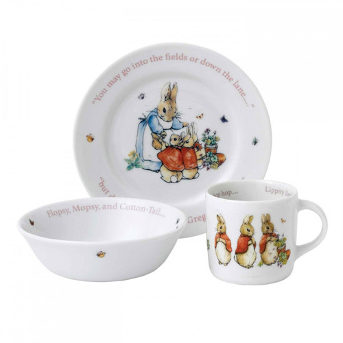 Wedgwood Peter Rabbit Girl'S 3 Piece Set (Plate, Bowl and Mug)