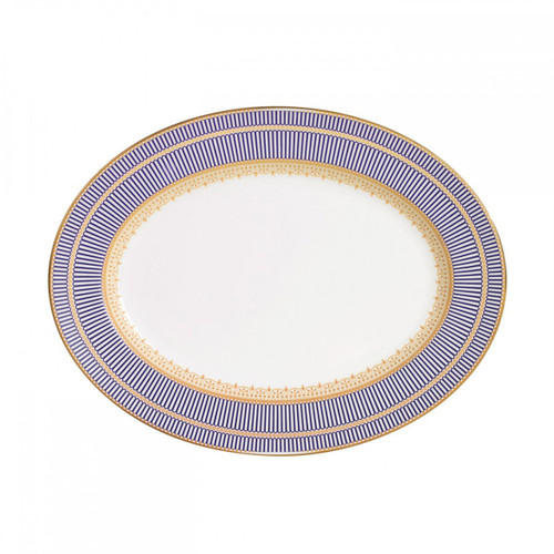 Wedgwood Anthemion Blue Oval Platter 15.25 Inch