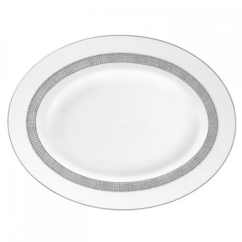 Vera Wang Gilded Weave Platinum Oval Platter 13.75 Inch