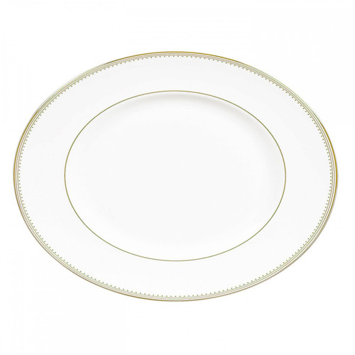Vera Wang Golden Grosgrain Oval Platter 13.75 Inch