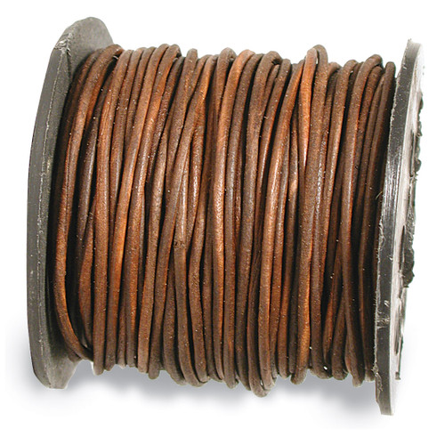 1300 2 mm. 25 Yard Distressed Brown Leather Cord CRD844/2.0-25