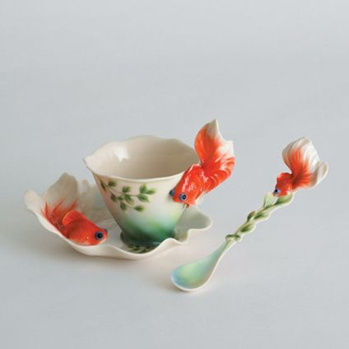 Franz Porcelain Goldfish Cup Saucer Spoon Set FZ00426