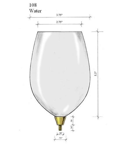 Edgar Berebi Gold Water Goblet Top Bowl Glass