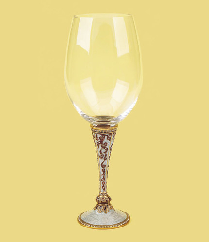 Edgar Berebi Brussels Water Wine Champagne Stem Pearl and Burgundy Gold Plate
