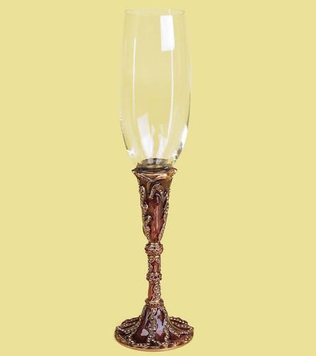 Edgar Berebi Geneva Tiger Lily Smoke Crystals Gold Plate Wine Water Champagne Stem