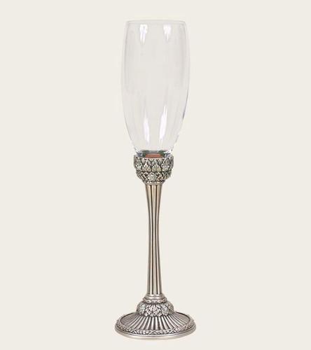 Edgar Berebi Dresden Moonlight Matte Silver Water Wine Champagne Stem