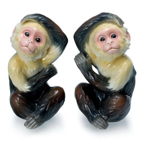 Franz Porcelain Jungle Fun Monkey Salt & Pepper Shakers FZ02075