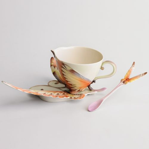 Franz Porcelain Papillon Butterfly Cup Saucer Spoon Set XP1907